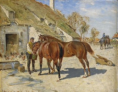 utfodring - hästar vid stallet (collab. w/wilhelm von gegerfelt) by johan georg arsenius