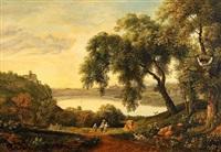 pastoralt landskap från nemi sjön utanför rom by charlotta munck af fulkia