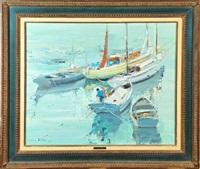 fischerboote im südländischen hafen by silva lino