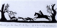 hunter and hounds chasing a deer by saunders k.g. nellis
