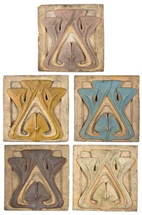 tiles (set of 5) by henri sauvage