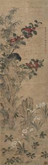 癸卯(1603作)年 竹石八哥 立轴 纸本 by zhou zhimian