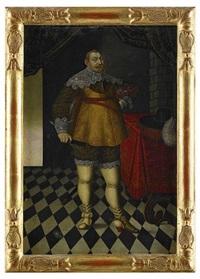 porträtt av kung gustav ii adolf iklädd broderat kyller och spetskrage samt i högra handen kommendantstav - stående helfigur i interiör by matthias hradh czwiczek