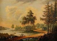 pastoralt landskap med figurstaffage by charlotta munck af fulkia