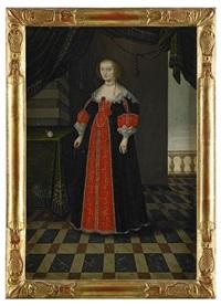 porträtt av drottning maria eleonora av sverige, född prinsessa av brandenburg - stående helfigur i interiör by matthias hradh czwiczek