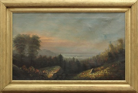 view of the river valley by hudson river school