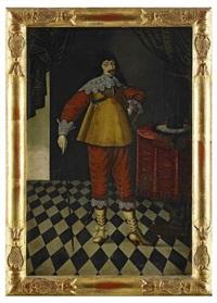 porträtt av kurfursten georg vilhelm av brandenburg med johanniterorden och kommendantstav - stående helfigur i interiör by matthias hradh czwiczek