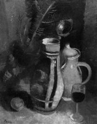 stilleben mit krug, kanne und weinglas by alexander posch