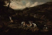 a stag hunt with hounds bringing down a stag in the foreground, huntsmen beyond by jan siberechts