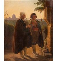 zwei musizierende wanderer am wegkreuz, 1861 by ferdinand-theodor hildebrandt