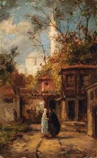 blick auf einen garten mit zwei sich unterhaltenden, verschleierten frauen. im hintergrund eine weiße moschee by pierre (henri théodore) tetar van elven