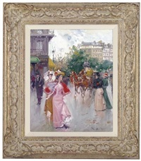 elegant figures in a parisien street (+ elegant figures, port st. denis, paris; pair) by juan puig soler