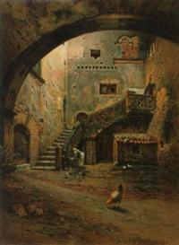 italienischer hinterhof mit wäscherin und geflügel by angelo geleng