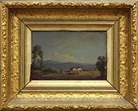 farmer plowing his field by hudson river school