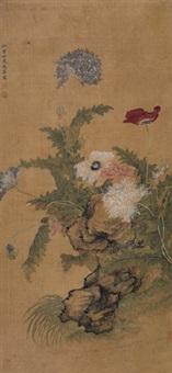 菊石图 立轴 绢本 by ma quan