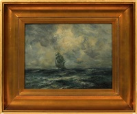 seascape with sailing ship by robert hopkin