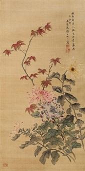 秋菊吐英 立轴 绢本 by tang shishu