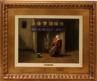 dutch woman by fire by frans de haas