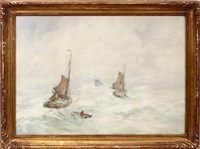 sailboats on a misty sea by henry stacquet