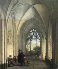 gotischer kreuzgang mit figurenstaffage by willem pieter hoevenaar