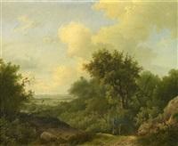 sommerliche wald- und wiesenlandschaft, vorn zwei rastende jäger by marianus adrianus koekkoek