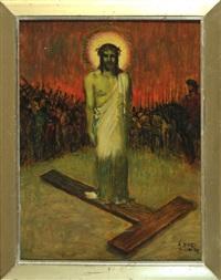 jesus mit dornenkrone und kreuz umgeben von soldaten by adolf frey-moock