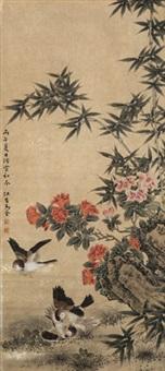 鸟语花香 镜心 纸本 by ma quan