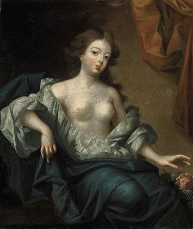 portrait of nell gwyn actress and mistress of king charles ii of england, seated, in a white chemise and a blue mantle, with a flowermantle by simon pietersz verelst