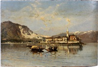 italian lake scene by eugenio gignous