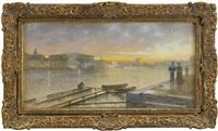 utsikt från skeppsholmen - solnedgång by eugene fredrik jansson