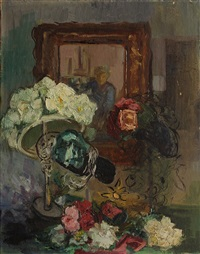 still life with flowers and a portrait by mabel alvarez