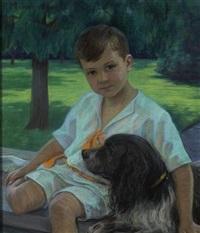 portrait eines knaben mit hund by frieda menshausen-labriola