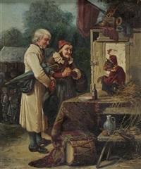 ein als soldat verkleideter affe unterhält die besucher eines jahrmarktes by alfred emile mery