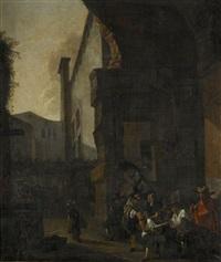 torgscen med antika ruiner by jan miel