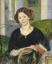 porträtt av författarinnan ingrid prytz sittande i interiör by richard (sven r.) bergh