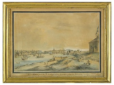 vue de stockholm prise sur lile de skeppsholmen où on voit le port des vaisseaux by johan fredrik martin