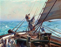 a crew manning sail by frank vining smith