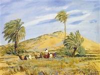 stimmungsbild aus der sahara. karawane durchquert eine oase by erwin kroner