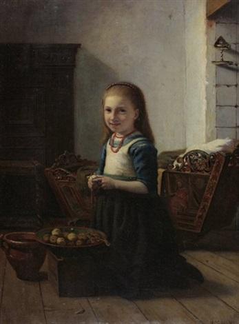 interieur mit mädchen beim kartoffelschälen by jacob isaac meyer de haan