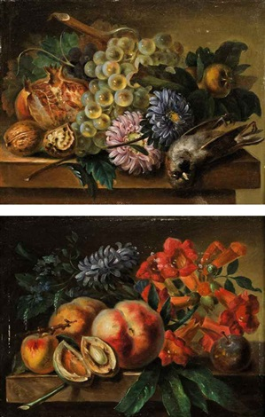 peaches apricots a plum hyacinth and other flowers on a stone ledge grapes on the vine a fig walnuts flowers and a dead bird pair by cornelis van spaendonck