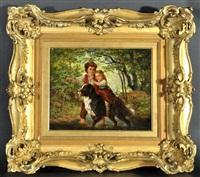 junge und mädchen mit hund beim überqueren eines waldbachs by ernst bosch