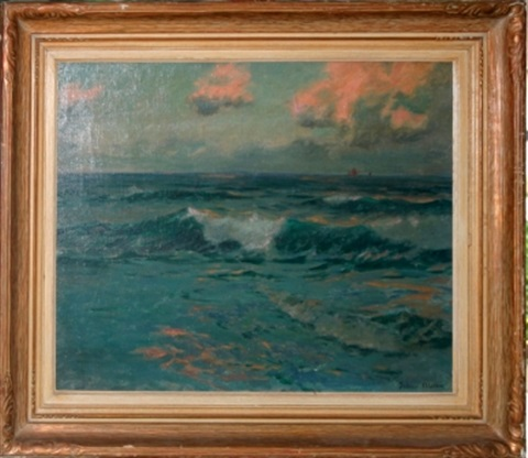 seascape with ships in distance by julius olsson
