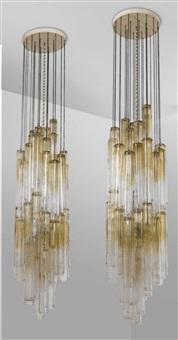 due lampadari calza (mod. 953) by ico parisi