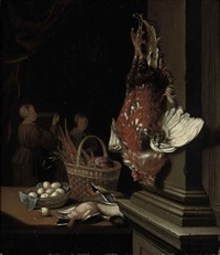 a dead cockerel hanging from a nail, ducks, eggs and carrots in wicker baskets on a table in an interior, two maids beyond by pieter cornelisz van slingeland