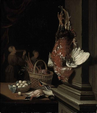 a dead cockerel hanging from a nail ducks eggs and carrots in wicker baskets on a table in an interior two maids beyond by pieter cornelisz van slingeland
