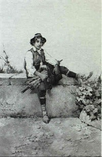 peasant boy on ledge by g. fortunati