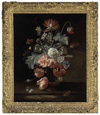 roses parrot tulips and other flowers in a glass jar on a ledge with butterflies by simon pietersz verelst