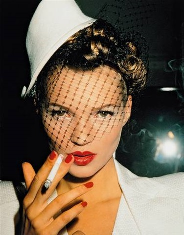 kate with fag in galliano paris by roxanne lowit