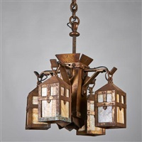 chandelier with central faceted shaft and four brackets each supporting a slag glass lantern by arts & crafts mission