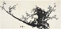 墨梅图 (ink plum blossom) by liang zhanfeng